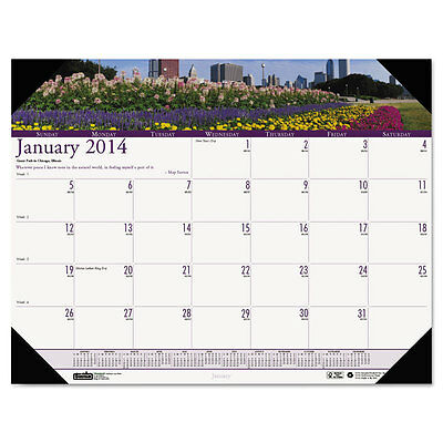 Gardens Of The World Photographic Monthly Desk Pad Calendar 18.5x13 2016