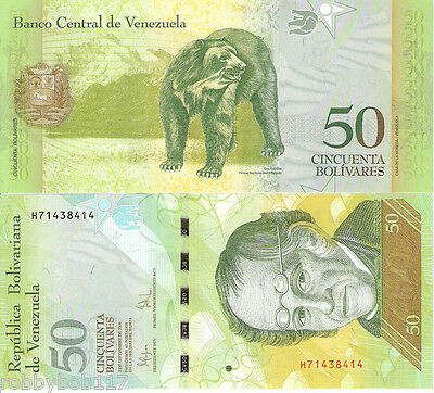 VENEZUELA 50 Bolivares Banknote World Paper Money UNC Currency Pick p-93e Bear