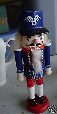 "Wood Nutcracker Blue Soldier Man Hand Painted 9 3/4"" Tall"