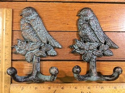 2 BIRD COAT HOOKS 5-3/4x3 Cast Iron Rustic Antique Vintage Style Wall Hat Rack