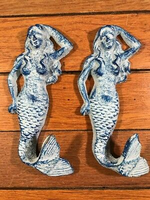 "2 MERMAID Wall HOOKS 6"" COAT Cast Iron Antique Style Wall Rack Nautical Coastal"