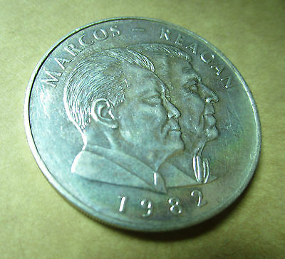 1982 25 piso silver coin Marcos Reagan PHILIPPINES uncirculated