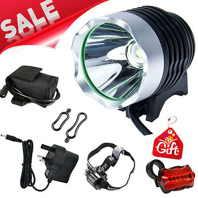 CREE XML T6 LED 1800Lm Cycle Bike Headlight Headlamp Rechargeable & Rear Light