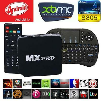 MX Pro Loaded Moives Quad Core Android Smart TV Box XBMC & i8 Mouse Keyboard BF