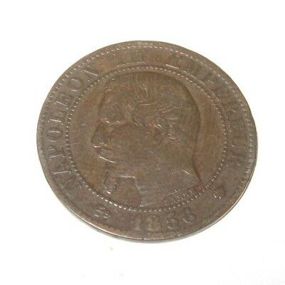 Vintage Antique French France Coin 5 Centimes Napoleon Iii 1856 M