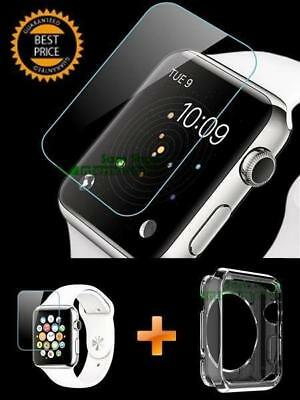 Apple Watch Tempered Glass Screen Protector and Clear TPU Case for 38mm & 42mm