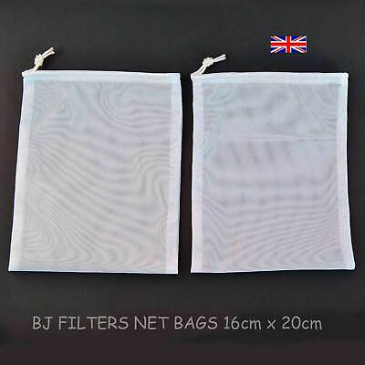 TWO FINE MESH NET BAGS = 16X20cm = STRAINING=NUT MILK=KEFIR=HERBAL TEA=JUICE=ETC