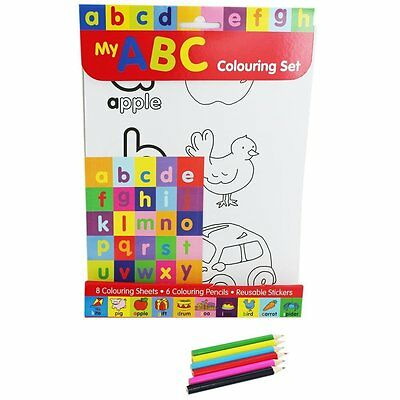 Learn the ABC Colouring Set: Stickers, 6 pencils, 8 printed couring sheets