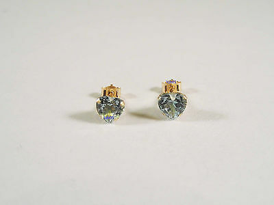 New Boxed Ladies 9ct Yellow Gold Blue Topaz Heart Studs Earrings 5mm Hallmarked