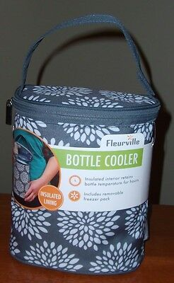 Baby Gray White Floral Insulated Bottle Cooler Freezer Pack Velcro Handle NEW