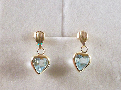 New Ladies 9ct Yellow Gold Blue Topaz Heart Drop Studs Earrings 14mm Hallmarked