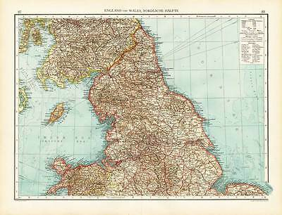 Antique Map-GREAT BRITAIN-ENGLAND-WALES-NORTHERN PART-Andree-1904