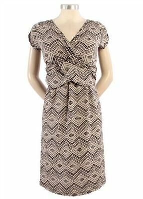 New Japanese Weekend Maternity Nursing Twist Front Diamond Print Shift Dress