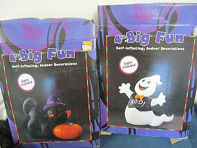 Halloween 4 Foot Inflatables  (2) Ghost &  Black Cat With  Pumpkin