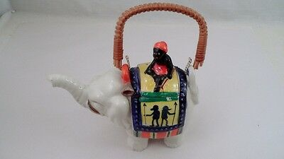 Vtg Japan Figural Trunk Up Elephant Teapot w/ Driver Rider Finial Bamboo Handle