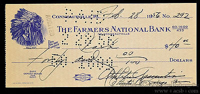 Obsolete Bank Check Farmers National Bank Conneautille Pennsylvania PA 1956.