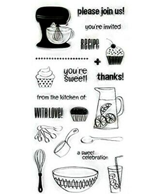Sweet Celebration Cooking Sentiments Clear Acrylic Stamp Set by Fiskars Stamps