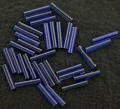 TWO 10x2.5 Rounded Tube Synthetic Corundum Blue Sapphire Color Gemstone 6138