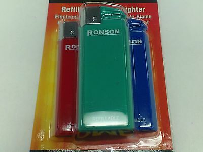 Ronson Comet Electronic Lighter Refillable Package Of Three New