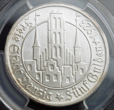 1923,Germany/Poland, Danzig (Free City). Large Silver 5 Gulden Coin. PCGS MS-62!