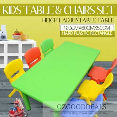 Large Kids Toddler Children Activity Table and 6 Chair Chairs Green 120x60cm L