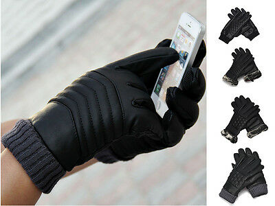 Mens Thermal Winter Warm Motorcycle Outdoor Sports Leather Touch Screen Gloves