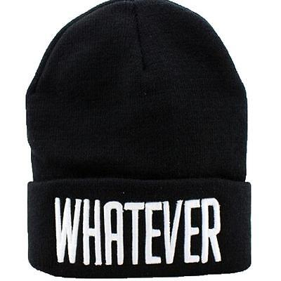 New Unisex Women Men Black Beanie Knitted Cap Hiphop Hat With Letter WHATEVER B