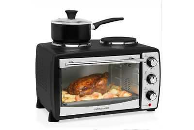 Andrew James 24 Ltr Black Mini Convection Oven Grill Double Hob Hotplate Caravan
