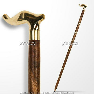 "36"" Handmade Sheesham Wood Walking Cane Stick with Brass Handle & Art Deco Shaft"