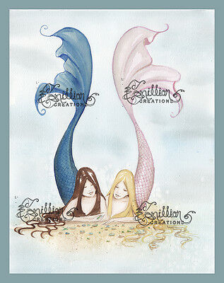 Finding Sea Glass Mermaid Print from Original Painting By Camille Grimshaw Fairy