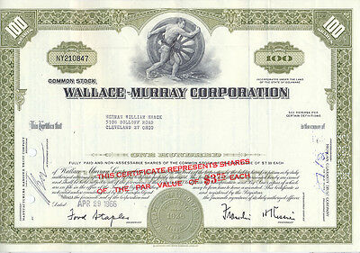 USA Amerika Wallace-Murray Corporation Aktie 1966 Maschinenbau San Francisco