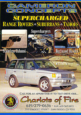 1997 Cameron Concepts Range Rover Original Advertisement Car Print Ad J368
