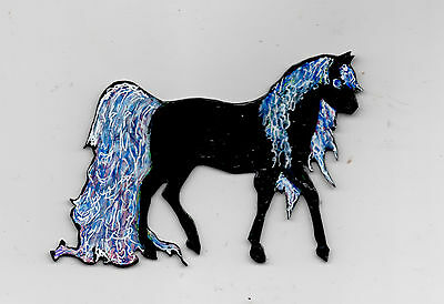 Horse Black Fantasy  Brooch Pin Pendant Fashion Jewelry Water Color Effect