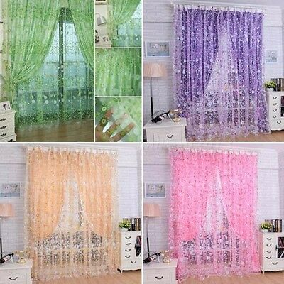 4 Colors Floral Tulle Voile Door Window Curtain Drape Panel Sheer Scarf Valances