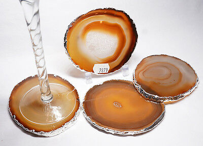 SILVER PLATED AGATE COASTERS - 4 Piece Matching Set 7879