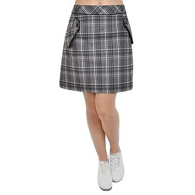 Sunice Silver Collection Womens Plaid Checked Golf Skort Skirt - Black - 8UK