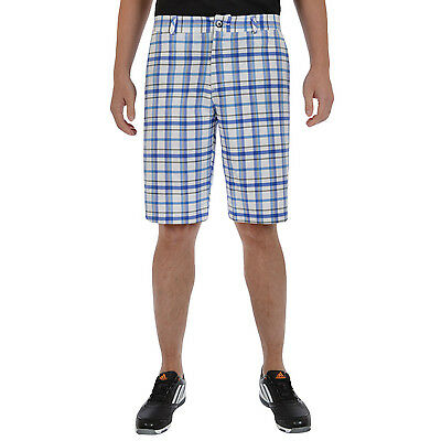 adidas Golf Mens Climalite 3 Stripe Stretch Flat Front Checked Shorts - W32