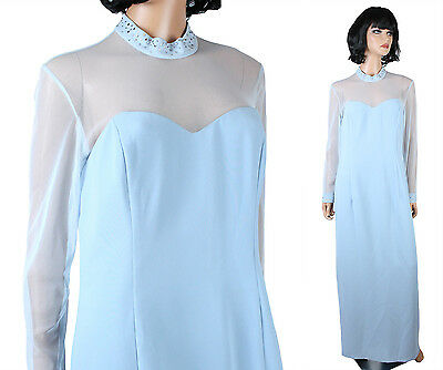 NWT Dela-Jo Dress 12 Light Sky Blue Long Cocktail Gown Rhinestones Sheer Mesh
