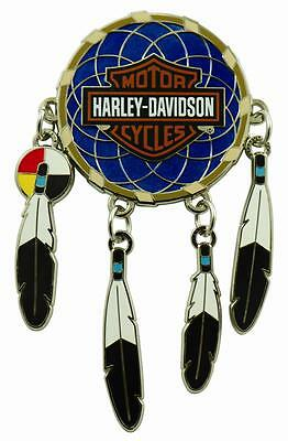 Harley Davidson Dream Catcher With Real Moving Feathers Vest Pin Bar And Shield