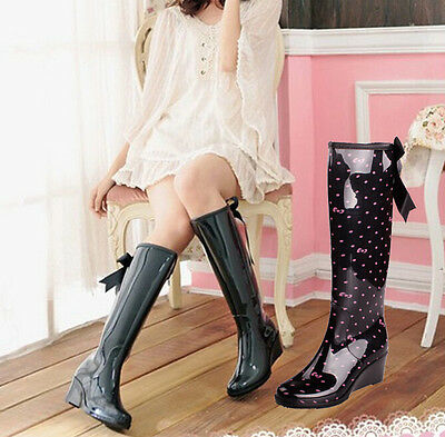 Sweet Girls Womens Wedge Heel Knee High Rain Boots Back Zipper Bowknot Bootie Sz