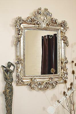 Large Antique Style Silver Wall Mirror 3ft6 x 2ft6 107cm x 76cm Rectangle
