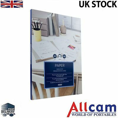2 Pack: Tesco A4 Laid Paper White 160gsm Executive Writing Paper 100 sheets,New