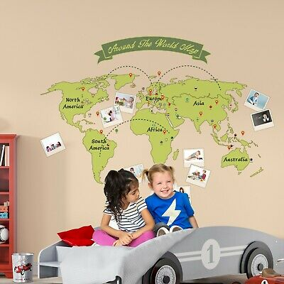 Home Wall Sticker Mural Green Map Family Art Decoration Decal 165cm x 115cm