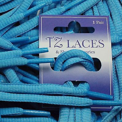 Oval 6mm Aqua Blue long 220cm Ice Roller Skate Laces