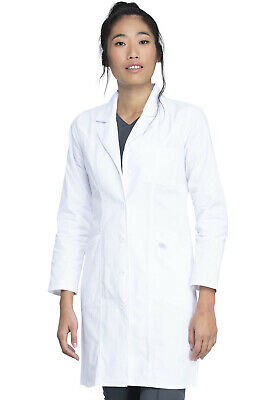 "White Dickies Scrubs EDS Womens 37"" Lab Coat 82401 DWHZ"