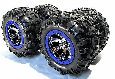 Summit TIRES (Canyon AT 17mm BLUE WHEELS, Rims (set 4 Factory Glued Traxxas 5607