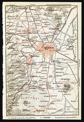 Antique Map-MEXICO CITY-Karl Baedeker-Wagner & Debes-1909