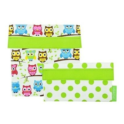 Sachi Reusable Sandwich/ Snack Lunch Pockets Set of 2 - Owl