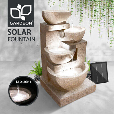 Solar Power Fountain Feature Four-Tier Bird Bath Water Garden Pump Feature