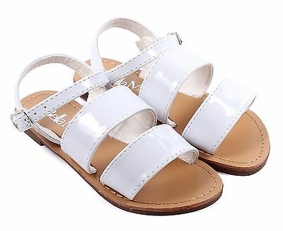 fab7ac569320ac White Cute Strappy Buckle Kids Girls Sandals Flats Youth Casual Shoes Size 9